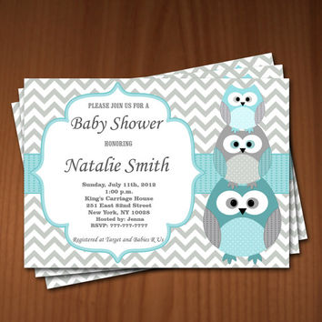 Owl Baby Shower Invitation Boy Baby Shower invitations Printable Baby Shower Invites -FREE Thank You Card - editable pdf Download (536) blue