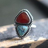 Sterling Silver Ring with Carnelian & Cultured Opal Size 8.25
