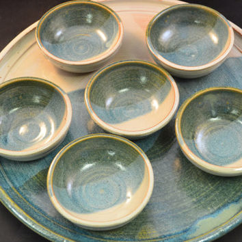 Handmade Ceramic Passover Platter or Tapas Platter with Bowls - Antique Blue and Ivory White