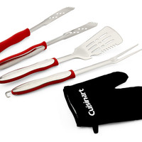 3-Pc Grill Tool Set w/ Glove, Red, Grill Tools & Accessories