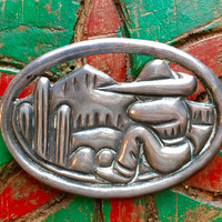 Mexican Repoussé Sterling Silver Brooch Cactus Bordertown Tourist Jewelry