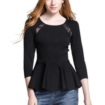 Black Lace Long Sleeve Ruffle Hem Shirt