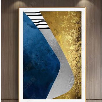 High Quality Abstract Blue Gold Painting Geometry European Style Canvas Art Wall Picture for Living Room Cuadros No Frame
