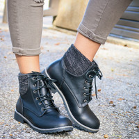 Rolling Hills Black Lace-Up Combat Boot With Tribal Print Lining