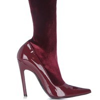 Boudoir velvet and leather ankle boots | Balenciaga | MATCHESFASHION.COM US