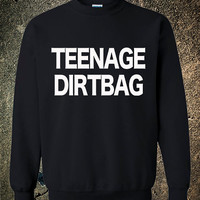 Teenage Dirtbag One Direction Fashion Funny Hipster CrewNeck Cool Black Red White sweatshirt