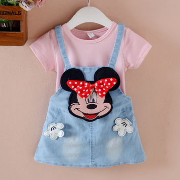 Toddler Girls Clothing Sets Cartoon minnie Princess False 2pcs Denim Dress Girl 2017 New Summer Dress Kids Clothes for Girl Z05