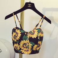 Sunshine Summer Black Sexy Fashion Designer Crop Top Strap Tank