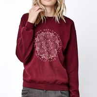 Obey Vintage Throwback Crew Neck Sweatshirt - Womens Hoodie - Maroon