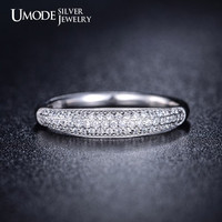 Sterling Silver Micro Pave Stacking Ring Cubic Zirconia Stacking Ring Engagement Ring Diamond Ring Silver Ring Band Ring Wedding Ring