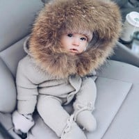 Knitted clothing with foot and hood baby clothes with fur collar for winter outdoor 3 9 12 24 month 2 year grey infant cloth