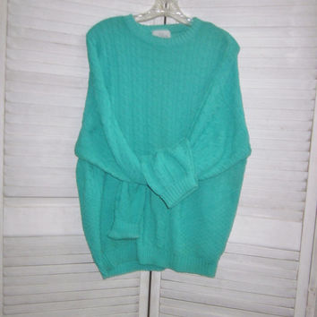 Vintage Mens Cotton Sweater Turquoise Green Knit Crewneck Sweater Made in USA Large Cable Knit Pullover Sweater