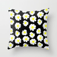 Flowering On Black Throw Pillow by Ornaart
