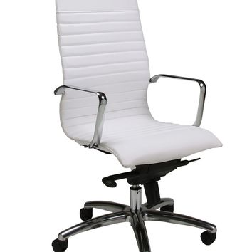 Kaffina Office Chair in chrome/aluminum upholstered in Pu Ivory
