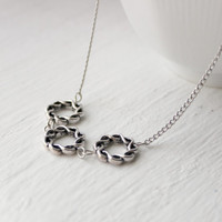 Simple 3-Circle Antique Silver Metal Necklace - Rope Style Necklace - Handmade Jewelry - Ready to Ship