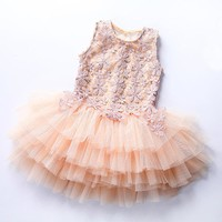 Princess Baby Girls Dress Summer 2017 Princess Girls Tutu Dress Toddler Party Sleeveless Lace Flower Dress Kids Clothes vestido