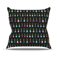 "Monika Strigel ""Pineapple People Black"" Black Multicolor Outdoor Throw Pillow"