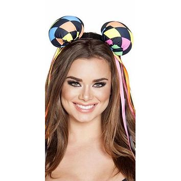 Sexy Multi Colored Diamond Halloween Mouse Ears with Ribbons