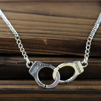 antique bronze handcuffs necklace Inspire jewelry steampunk style men gift