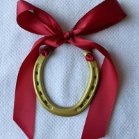 Gold horseshoe w satin cranberry ribbon, decorated horseshoe w gift tag, horse shoe, lucky horseshoe, wedding horseshoe, horseshoe gift