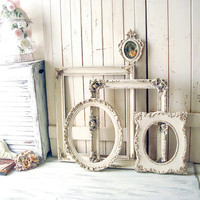 Cream Vintage Frames, Ornate Picture Frames, Cream and Gold Large Baroque Frames, Oval Ornate Frames, Cream Nursery Frames, Open Frame Set