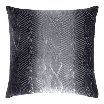 Smoke Cable Knit Velvet Pillows by Kevin O'Brien Studio
