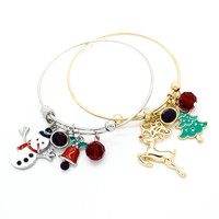 Christmas charms bangle bracelet
