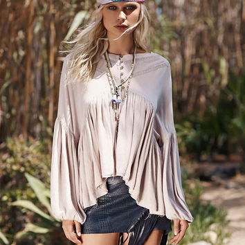 Trumpt Sleeve  Asymmetrical Loose Shirt
