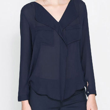 Navy Blue Long French Cuff Sleeve V-Neck Chiffon Blouse