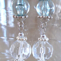 Soft Blue, Clear & Silver Dangle Earrings, Handmade, Original Design, Unique Jewelry, Ladies Gift, Simple, Casual Elegance, Fashion Jewelry