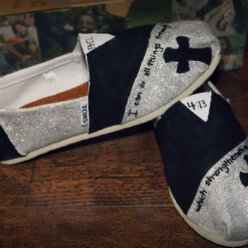Hand Painted TOMS Black / Silver Glitter Custom Scripture / Cross