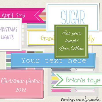 Printable editable organizing label pack - 76 colorful tags flags, squares, rectangles Blank digital frames Instant download