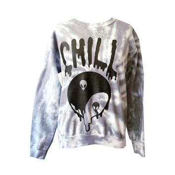 Gray Tie Dye Chill Sweatshirt - Alien Shirt,  Yin Yang Jumper - Drippy Grunge Sweatshirt