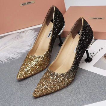 Prada Miu Miu Glitter Pumps With Jewels Black Gold - Best Deal Online