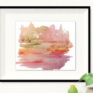 Abstract Landscape Painting, Original watercolor, Nursery art, Serene Pink painting, Contemporary wall decor, minimalist art
