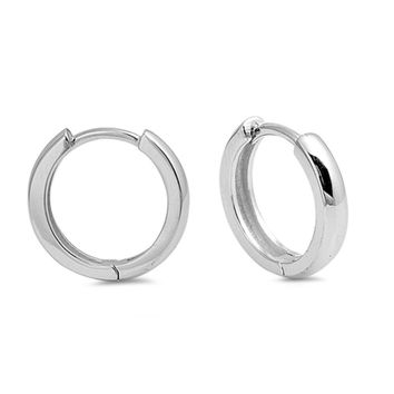 Huggies Earrings Sterling Silver Round Tube Hoop Huggies Earrings (3x16mm)