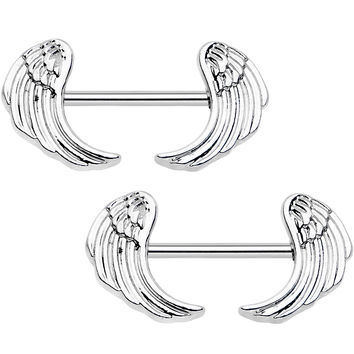 "14 Gauge 5/8"" All About Angel Wings Barbell Nipple Ring Set"