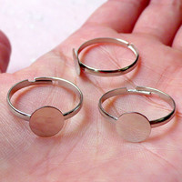 Adjustable Ring Blank with 8mm Glue On Pad / Silver Plated Blank Ring Base (10pcs / Silver / Nickel Free) Jewellery Making Findings F156