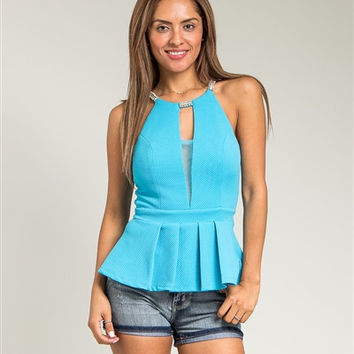 Blue Peep Halter Peplum Top