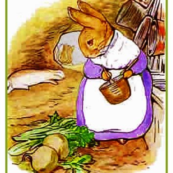Mrs Rabbit Makes Soup inspired by Beatrix Potter Counted Cross Stitch or Counted Needlepoint Pattern