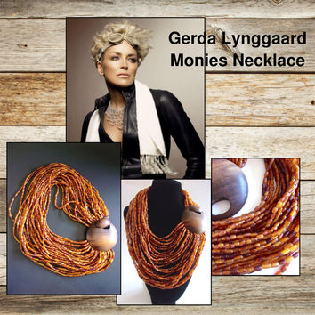 GERDA LYNGGAARD MONIES Wood Carved Horn Beads Necklace, 30 Strands, Couture, Vintage