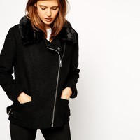 ASOS Biker Jacket In Textured Wool at asos.com