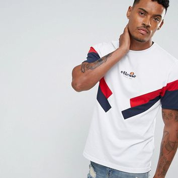 Ellesse T-Shirt With Panel Sleeve In White at asos.com