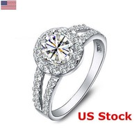US Fashion Wedding Engagement Crystal Jewelry 925 Silver Rings Diamond for Women