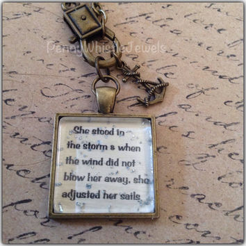 Inspirational Quote Necklace, She Stood In The Storm, Quote Necklace, Quote Jewelry, Inspirational Jewelry, Handmade, PennyWhistle