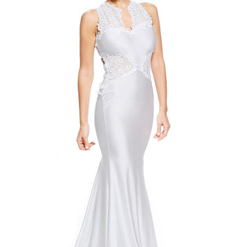 White Open Back Fine Flowers Maxi Wedding Gown