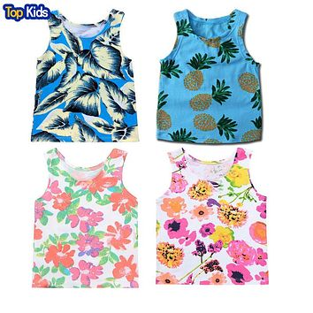 Boys Sleeveless T Shirts Summer Style Shirt Kids Beach Style Top Tees Baby Casual Clothing