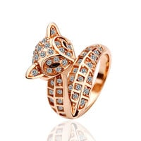 Crystal Cat 18K Rose Gold Plated Ring