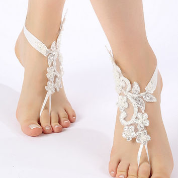 Free Ship ivory Silver frame lace Barefoot Sandals, french lace, Nude shoes, Foot jewelry,Wedding, Victorian Lace, Sexy, barefoot sandals