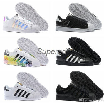 2016 Originals Superstar White Hologram Iridescent Junior Superstars 80s Pride Sneakers Super Star Women Men Sport Running Shoes 36-45